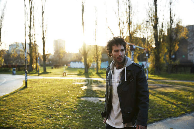 Man in urban park — Stock Photo