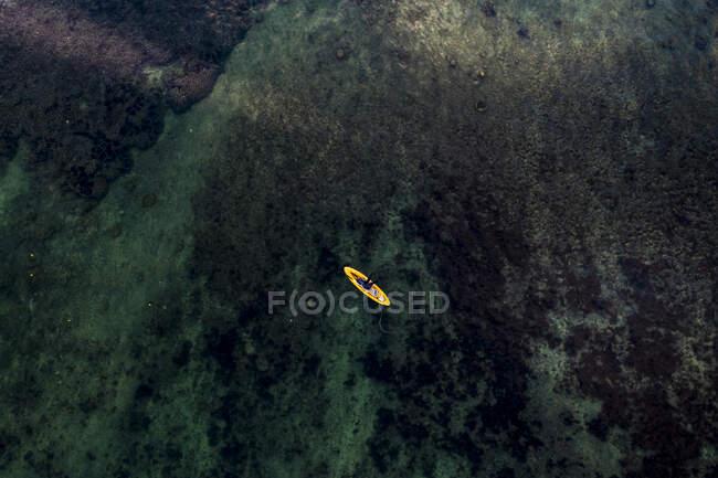 Mauricio, Río Negro, Flic-en-Flac, Vista en helicóptero del paddleboard flotando en aguas costeras - foto de stock