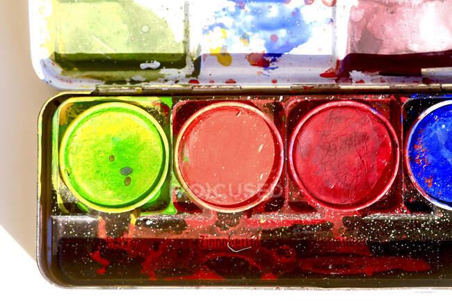 Alemanha, Close-up de tintas aquarela para crianças — Fotografia de Stock