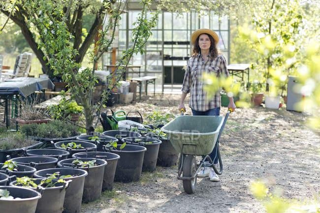 Портрет упевненої зрілої жінки, яка ходить, штовхаючи на колесах рослини в саду. — Stock Photo