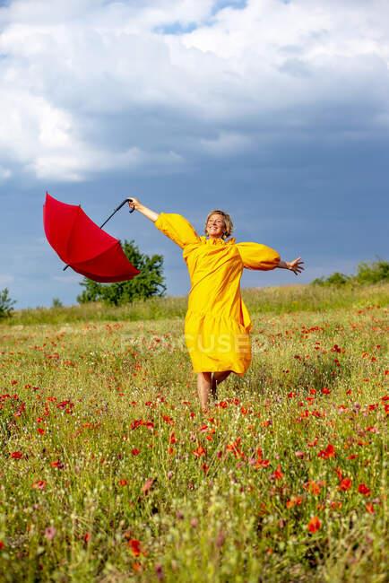 Обережна жінка з витягнутими руками, тримаючи червону парасольку, стоячи на макове поле. — стокове фото