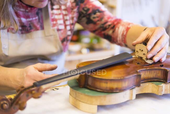 Жіночий скрипковий майстер на роботі. — стокове фото
