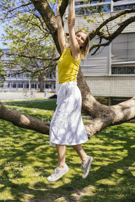 Портрет щасливої жінки, що звисає з гілки на дереві. — стокове фото
