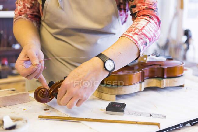 Mulher violinista no trabalho — Fotografia de Stock