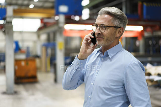 Mature businessman on the phone in a factory — Stock Photo