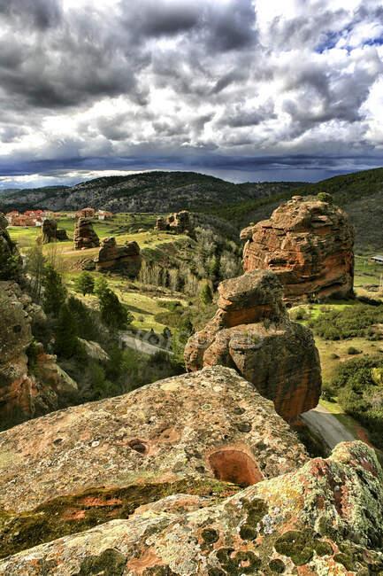 Espagne, Province de Guadalajara, Chequilla, Vue panoramique des buttes à Castille-La Manche — Photo de stock