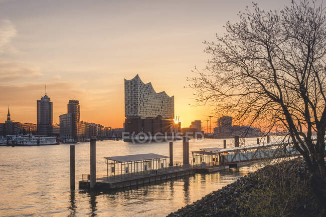 Німеччина, Гамбург, Порожня гавань на березі Ельби на світанку з Ельбфілармонією на задньому плані — стокове фото