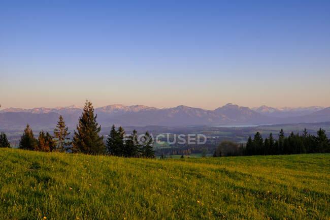 Німеччина, Баварія, Бернбеурен, Вид з пагорба Ауерберг влітку сутінки — стокове фото