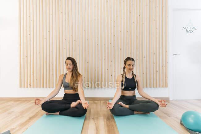 Две спортивные женщины занимаются йогой в оздоровительном клубе — стоковое фото