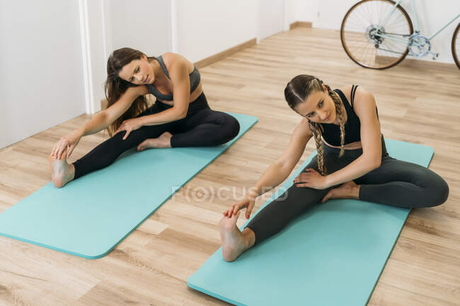 Two sporty women exercising at health club — стоковое фото