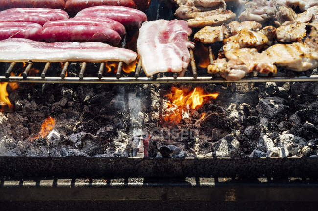 Close-up of meat and coals on barbecue grill in yard — Stock Photo