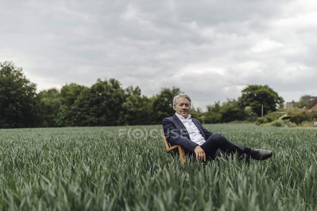 Empresário sénior sentado numa cadeira num campo no campo — Fotografia de Stock