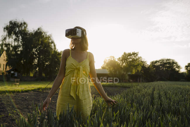 Young woman wearing VR goggles in a grain field in the countryside — Stock Photo