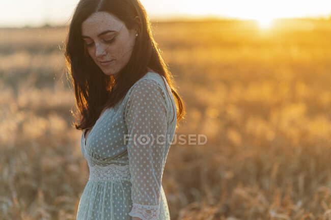 Ragazza premurosa guardando giù mentre in piedi in fattoria al tramonto — Foto stock