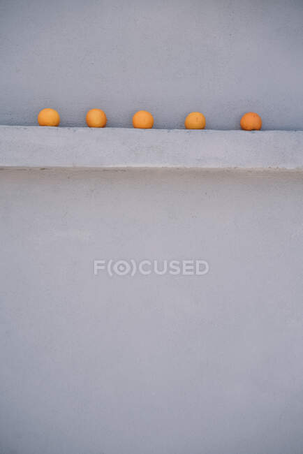 Five oranges on a gray wall spur — Stock Photo