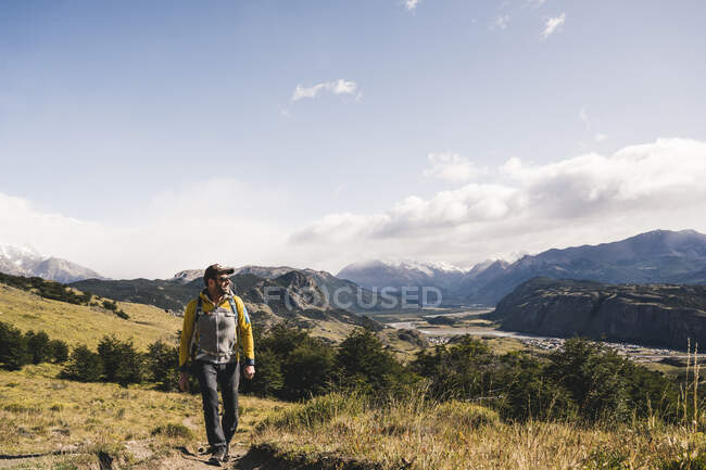 Man walking on landscape against sky at Patagonia, Argentina — Stock Photo