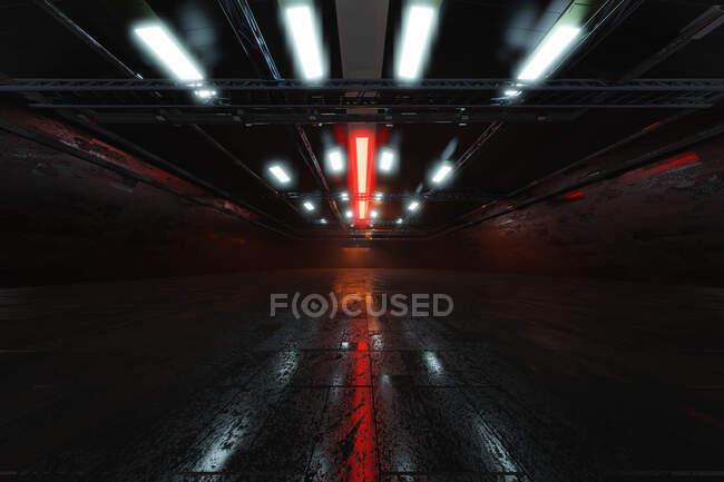 Three dimensional render of dark empty warehouse — Stock Photo