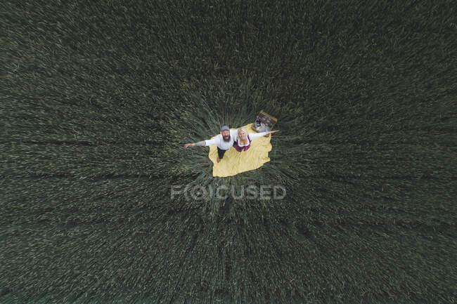 Drone disparo de pareja madura con los brazos extendidos de pie sobre una manta en medio de un campo de maíz verde - foto de stock