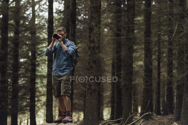 Caminhante masculino fotografando com câmera enquanto está de pé contra árvores na floresta — Fotografia de Stock