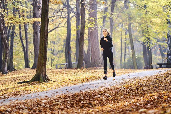 Mujer joven corriendo en el bosque de otoño - foto de stock