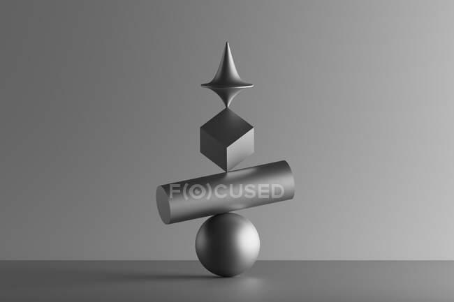 Rendimiento tridimensional de la parte superior metálica girando en la parte superior del cubo geométrico, cilindro y esfera - foto de stock