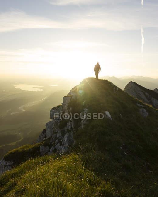 Escursionista sul belvedere all'alba, Brentenjoch, Baviera, Germania — Foto stock