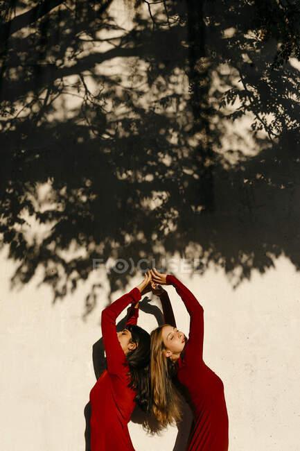 Jovens mulheres com as mãos levantadas de pé de costas para trás pela sombra na parede — Fotografia de Stock