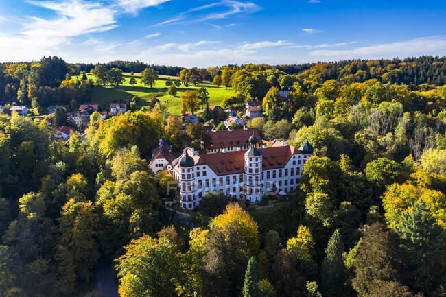 Alemania, Baviera, Eurasburgo, Vista en helicóptero del castillo de Eurasburgo en verano - foto de stock