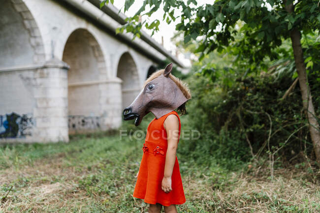 Little girl with a horse's head and a red dress standing  in nature under a bridge — Stock Photo