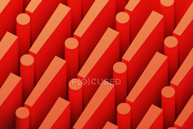 Three dimensional pattern of rows of red exclamation points — Stock Photo
