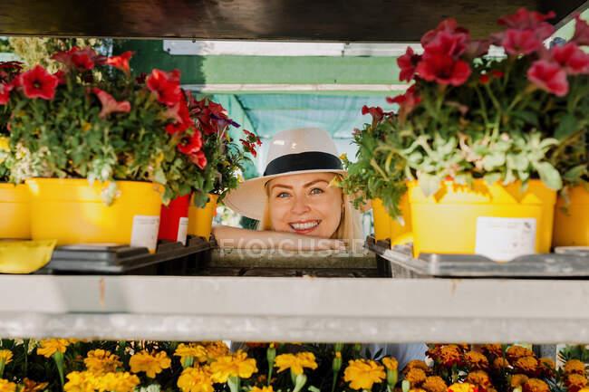 Dueña sonriente usando sombrero mirando a través de un estante en un vivero de plantas - foto de stock