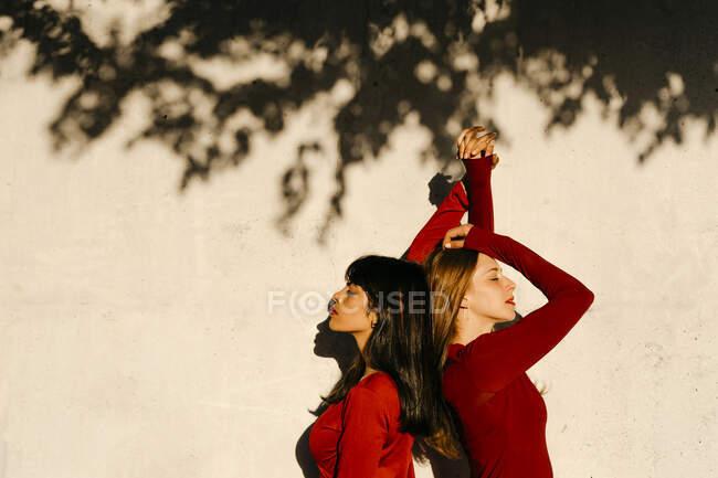 Belos jovens amigos com as mãos levantadas de pé de costas para trás pela sombra da árvore — Fotografia de Stock
