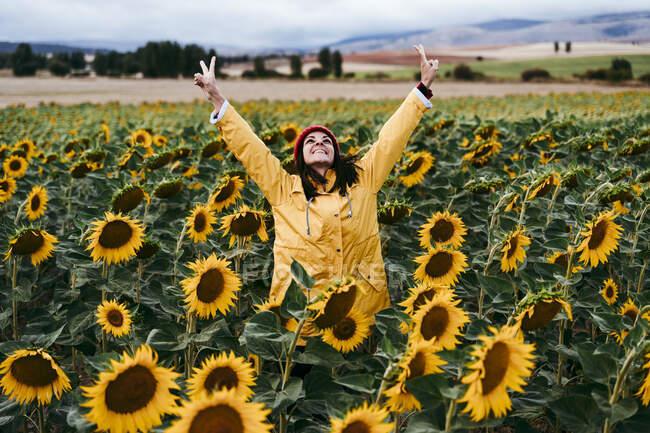 Молода жінка, що стоїть на полі соняшника, робить мирні жести. — стокове фото