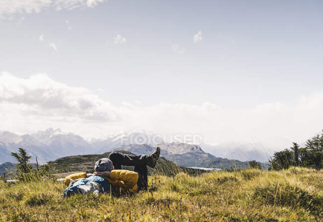 Man relaxing on mountain at Patagonia, Argentina, South America — Stock Photo