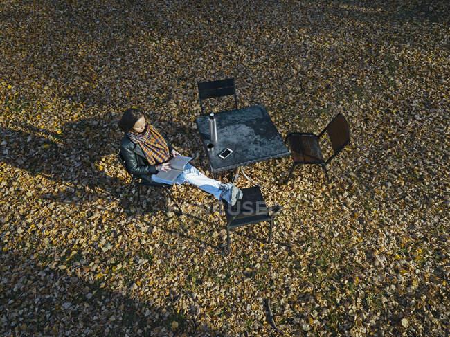 Вид беспилотника на женщину, читающую книгу, сидя на стуле в парке в течение осеннего сезона — стоковое фото