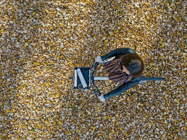 Mujer con bicicleta caminando sobre hojas de otoño en el parque - foto de stock