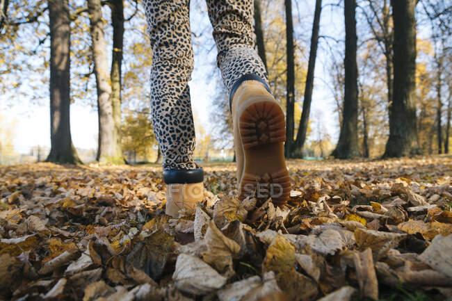 Pies de mujer caminando en parque público - foto de stock