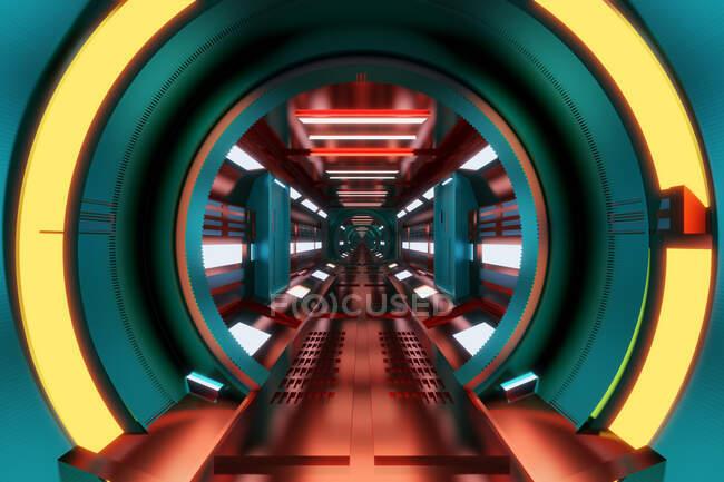 Ilustración 3D interior del corredor de la estación espacial - foto de stock