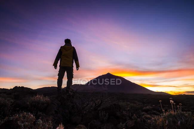 Man admiring view while standing on mountain at El Teide National Park, Tenerife, Espanha — Fotografia de Stock
