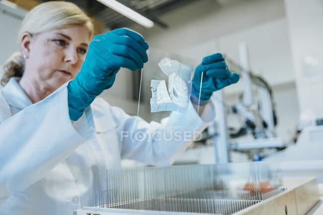 Mujer sosteniendo la diapositiva del microscopio cerebral mientras está de pie en laboratorio - foto de stock