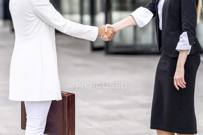 Жінки займаються рукостисканням, стоячи на стежці. — стокове фото