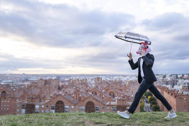 Бізнесмен у свинячій масці розмовляє по телефону, тримаючи парасольку в місті на заході сонця. — стокове фото