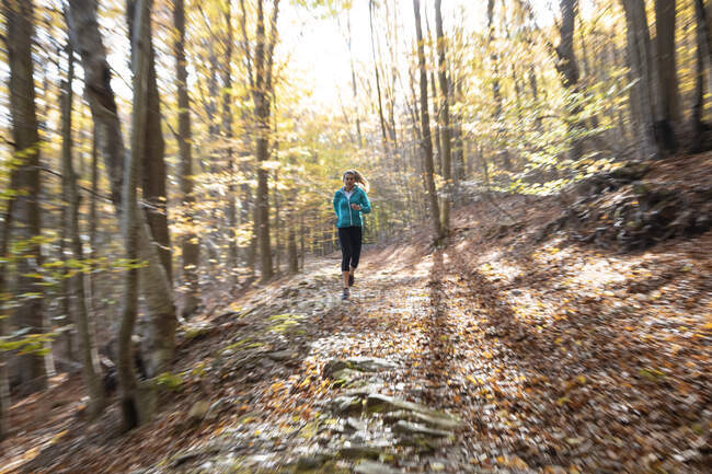 Sportswoman exercising while running in forest — стоковое фото