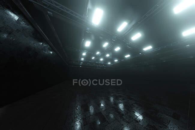 Тривимірне зображення темного порожнього складу. — стокове фото