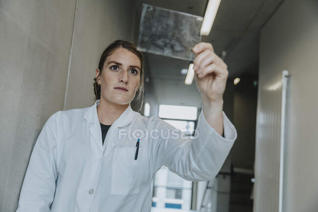 Científico examinando la muestra de vidrio cerebral humano mientras está de pie en el pasillo de la clínica - foto de stock