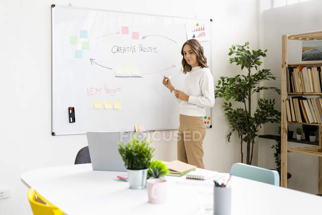 Businesswoman looking at laptop while standing by whiteboard at office — Stock Photo