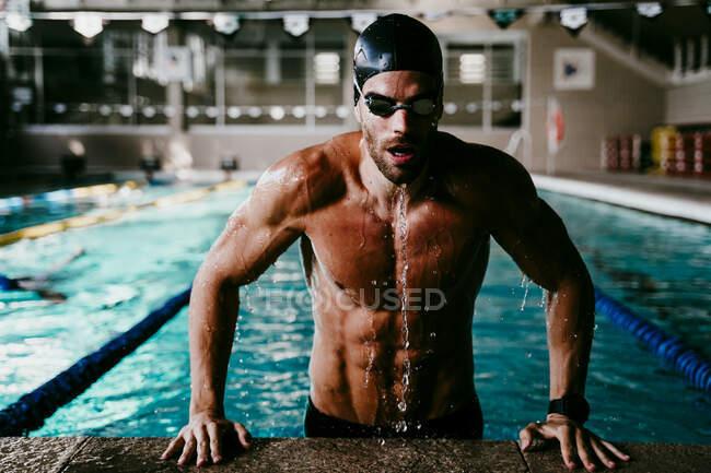 Profesional muscular nadador masculino saliendo de la piscina - foto de stock