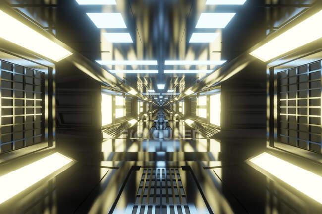 Rendimiento tridimensional de corredor futurista brillante dentro de la nave espacial o estación espacial - foto de stock