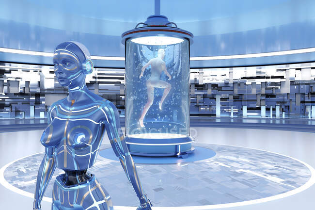 3D rendered Illustration of woman leaving her body behind and transferring her consciousness into gynoid in regeneration tank — Stock Photo
