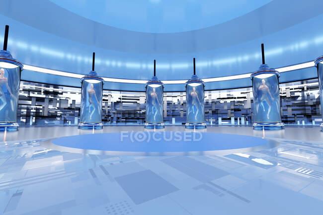 Three dimensional render of futuristic human cloning facility — Stock Photo